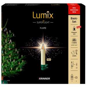Krinner Lumix SuperLight Flame kabellose LED Christbaumkerzen 12er Basis-Set [neu 2020]