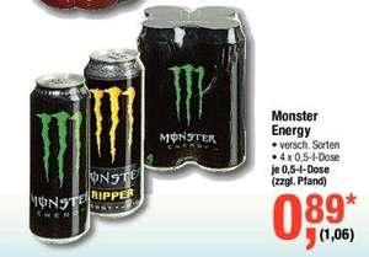 Monster Energy 1,06€ @ METRO (0,5L Dose, 4er Packs)