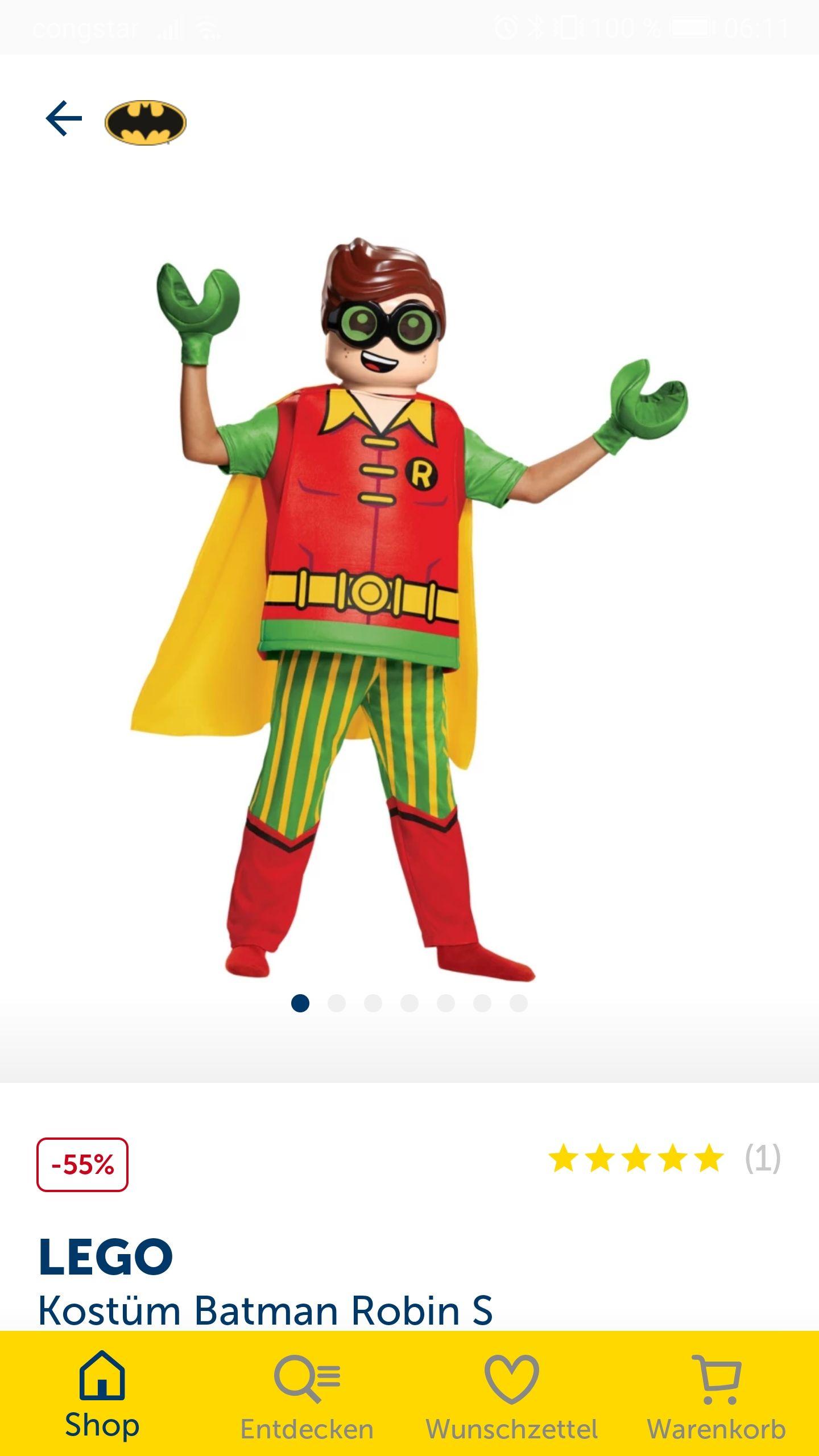 LEGO Movie Batman - Robin Kinder Kostüm S