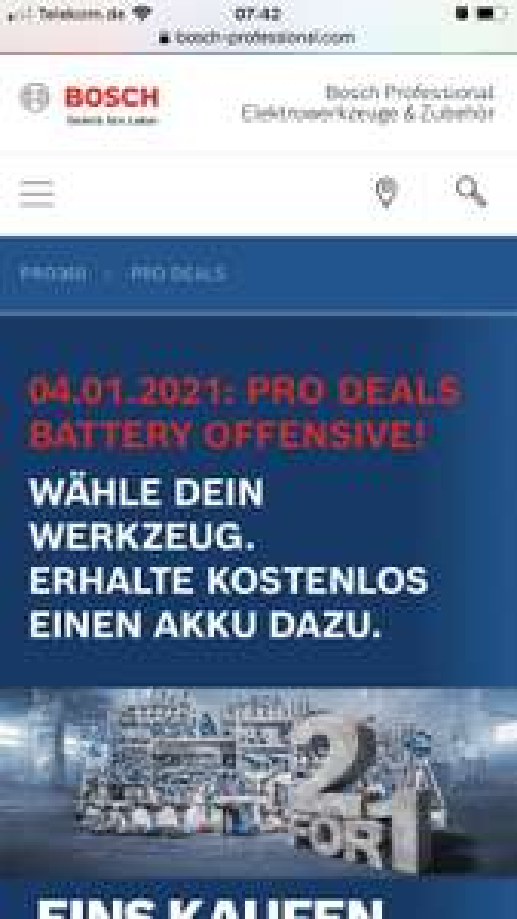 Bosch Pro: Gratis Akku ab 150€ netto