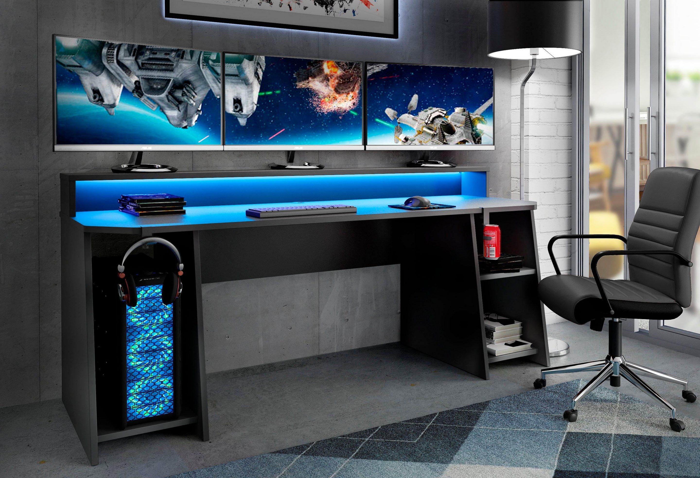 [Neckermann] FORTE Gamingtisch Tezaur, mit RGB-Beleuchtung und Halterungen