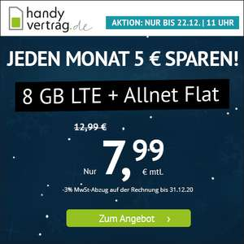 Handyvertrag.de: 8GB LTE Tarif für mtl. 7,99€ mit Allnet- & SMS-Flat + VoLTE & WLAN Call (mtl. kündbar; Telefonica-Netz)