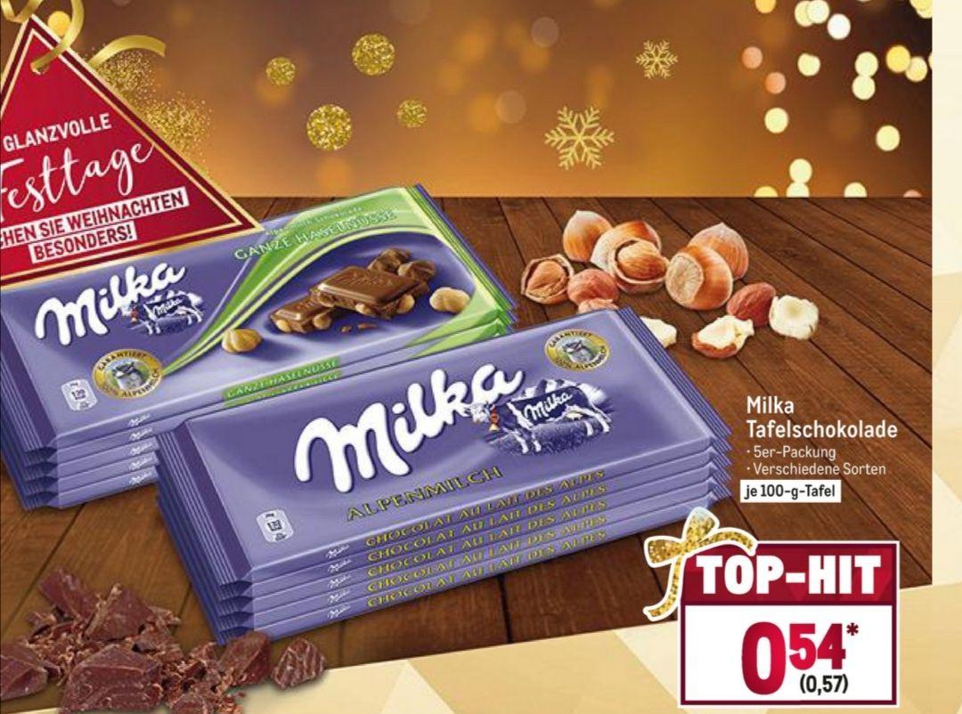 Metro - Milka Schokolade 5 er Packung verschiedene Sorten, je 100g Tafel