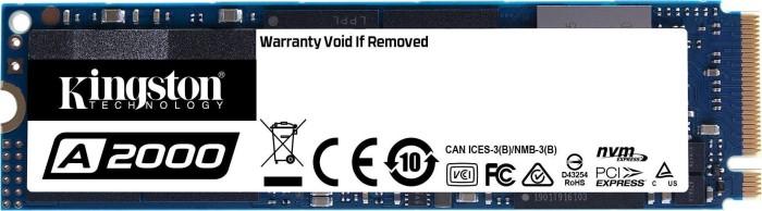 Kingston A2000 250GB (interne SSD, M.2, PCIe 3.0 x4, NVMe, 3D-NAND TLC, R2000MB/s, W1100MB/s, DRAM+SLC-Cache, 150TBW/5J Garantie)