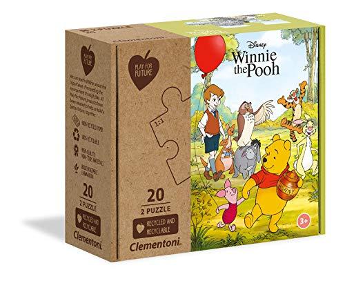(Prime) Clementoni 24772 Winnie Puuh – 2 x 20 Teile 100% recycelte Materialien – Puzzle für Kinder