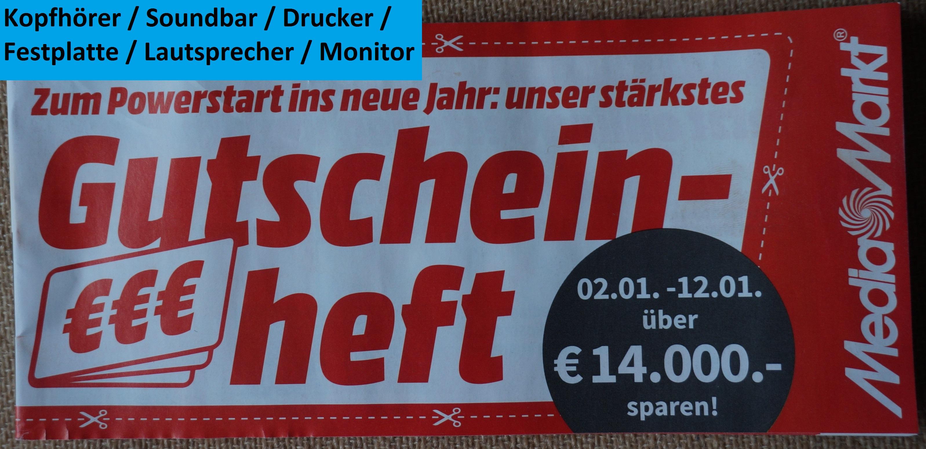 [Media Markt] Nur Online - Gutschein Heft: Sound / PC Zubehör gültig 02.01.2021 - 12.01.2021