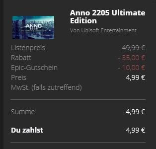 Anno 2205 für 5€, 1800 standard für 10€ im deutschen Epic Store