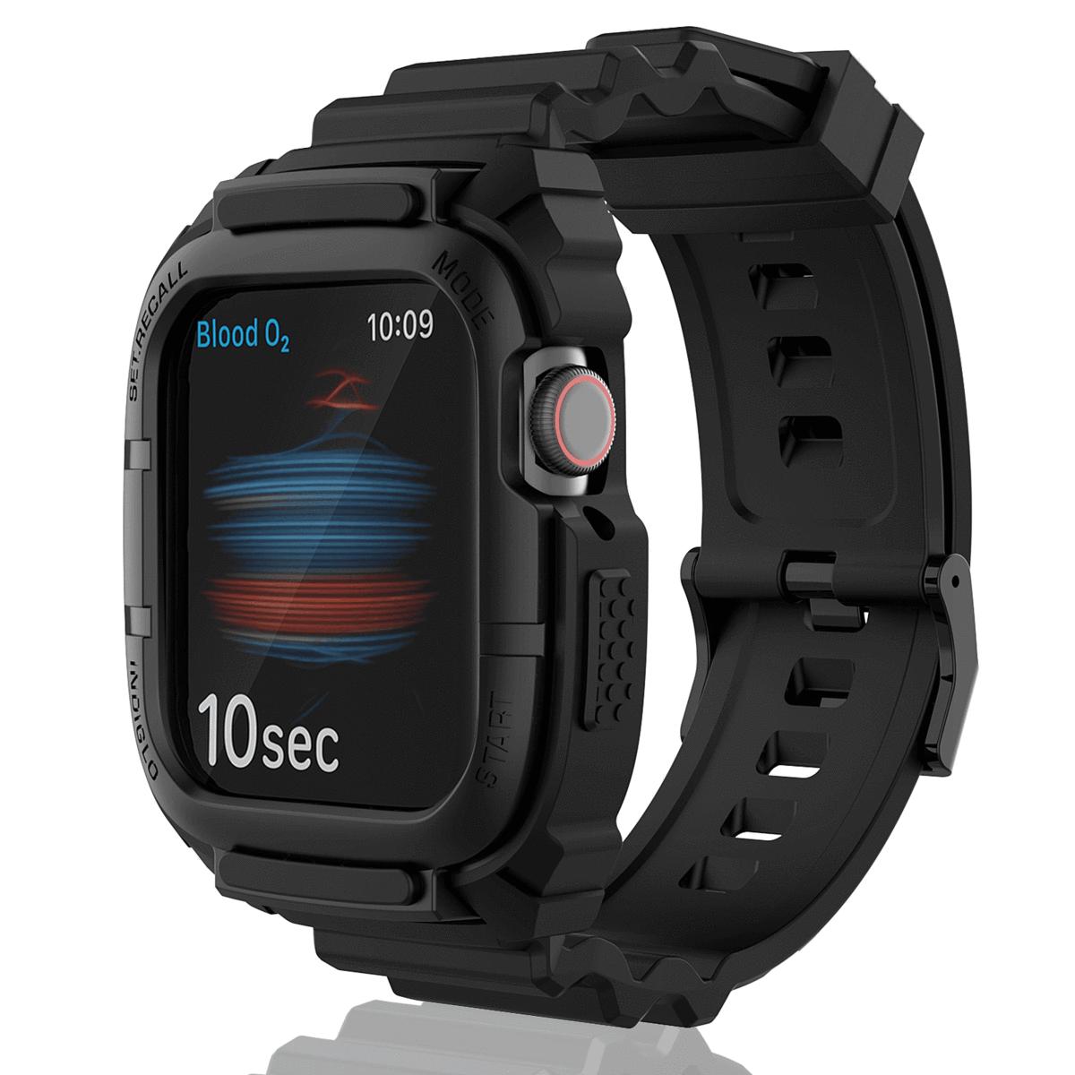 Apple Watch 6/SE/5/4/3 Silikon Ersatzarmband 42/44mm mit Schutzcase in 5 versch. Farben für 7,98€