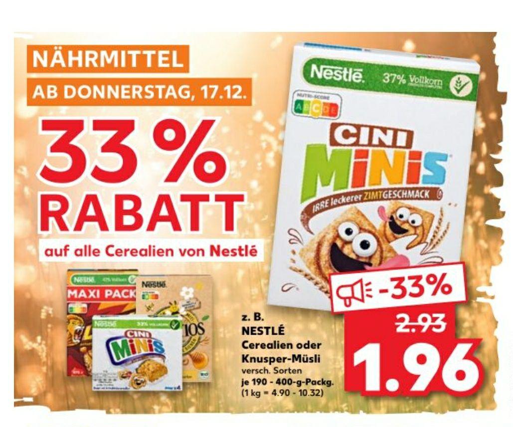 Kaufland: Nestlé Cerealien für 0,96€/Packung