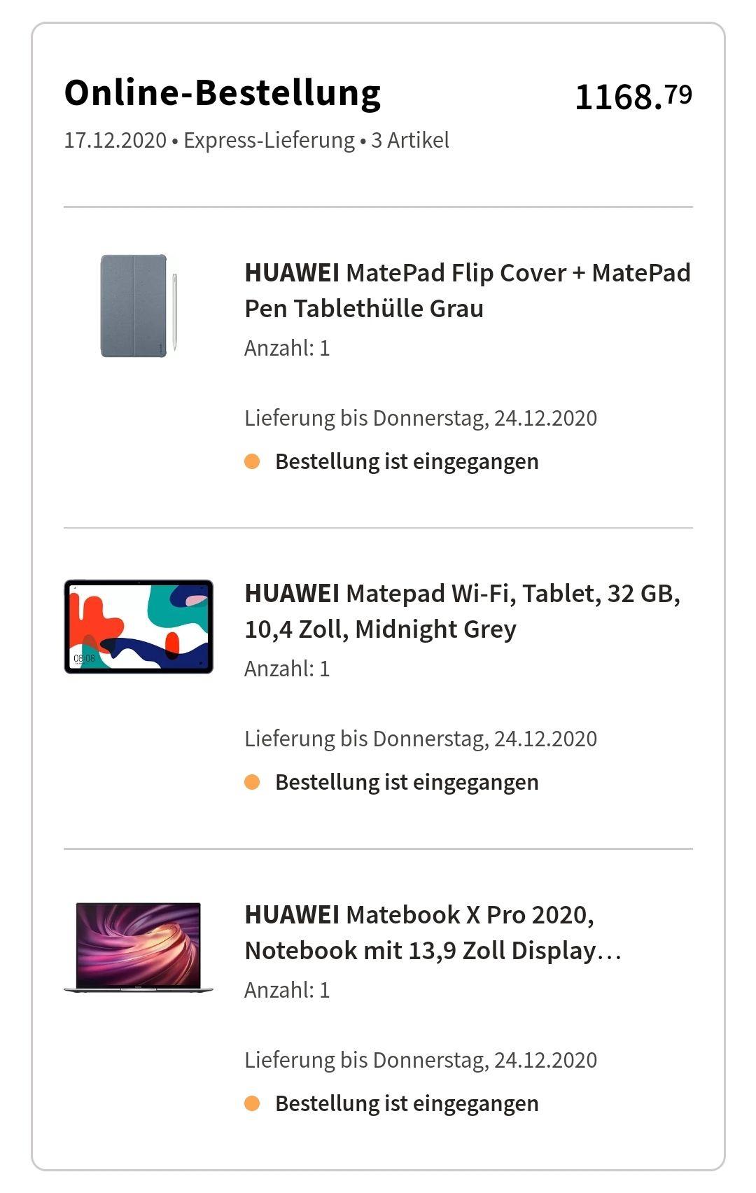 "Huawei Matebook X Pro 2020 13,9"" i5/16GB/512GB + Huawei Matepad Wi-Fi 32GB 10,4"" + FlipCover + Matepad Pen"