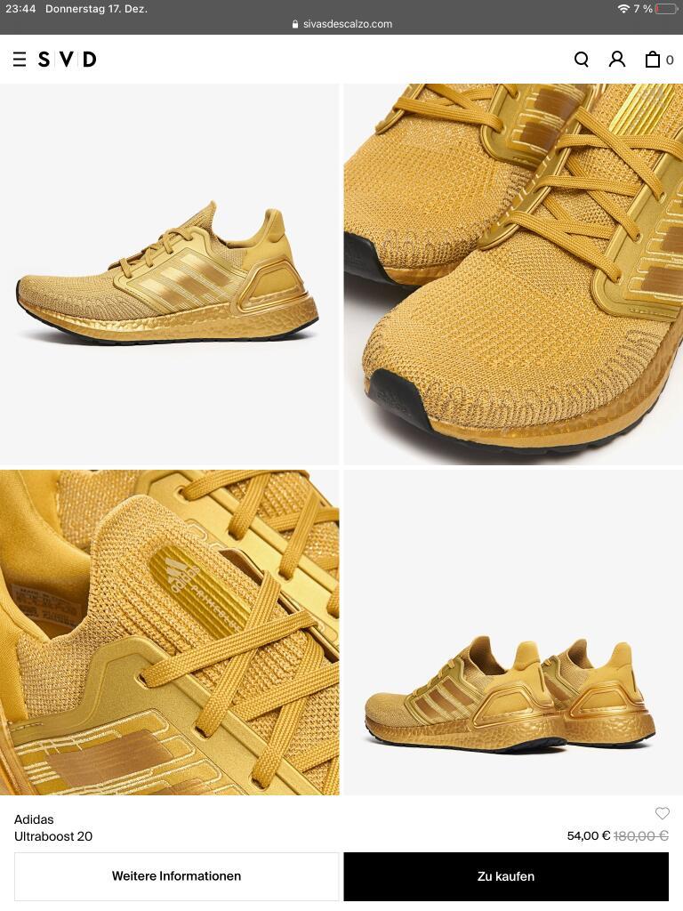 Adidas ULTRABOOST 20 in Gold nur Größe EU 42