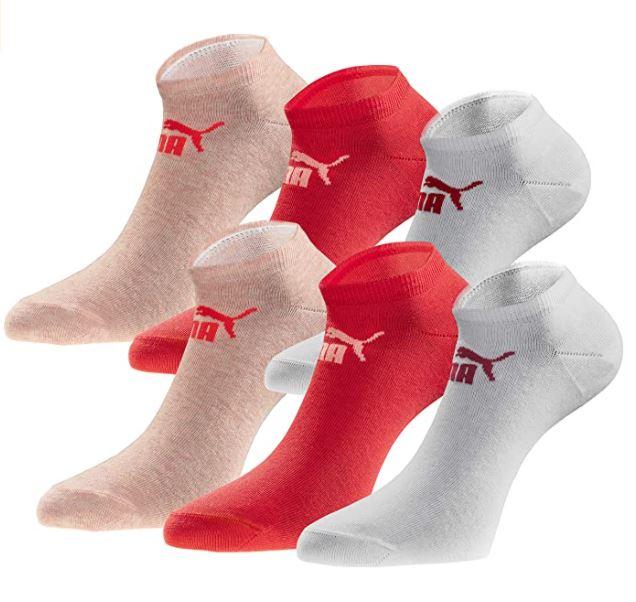 [Prime] PUMA 18 Paar Quater Socken - Damen - Statement Edition - White-peach-coral - Größen 35-38 & 39-42