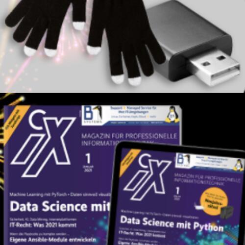 [Heise] iX Magazin 3 Ausgaben (Print oder digital) + USB-Datenblocker oder Handschuh Touch Screen + iX Maske für 16,50 €