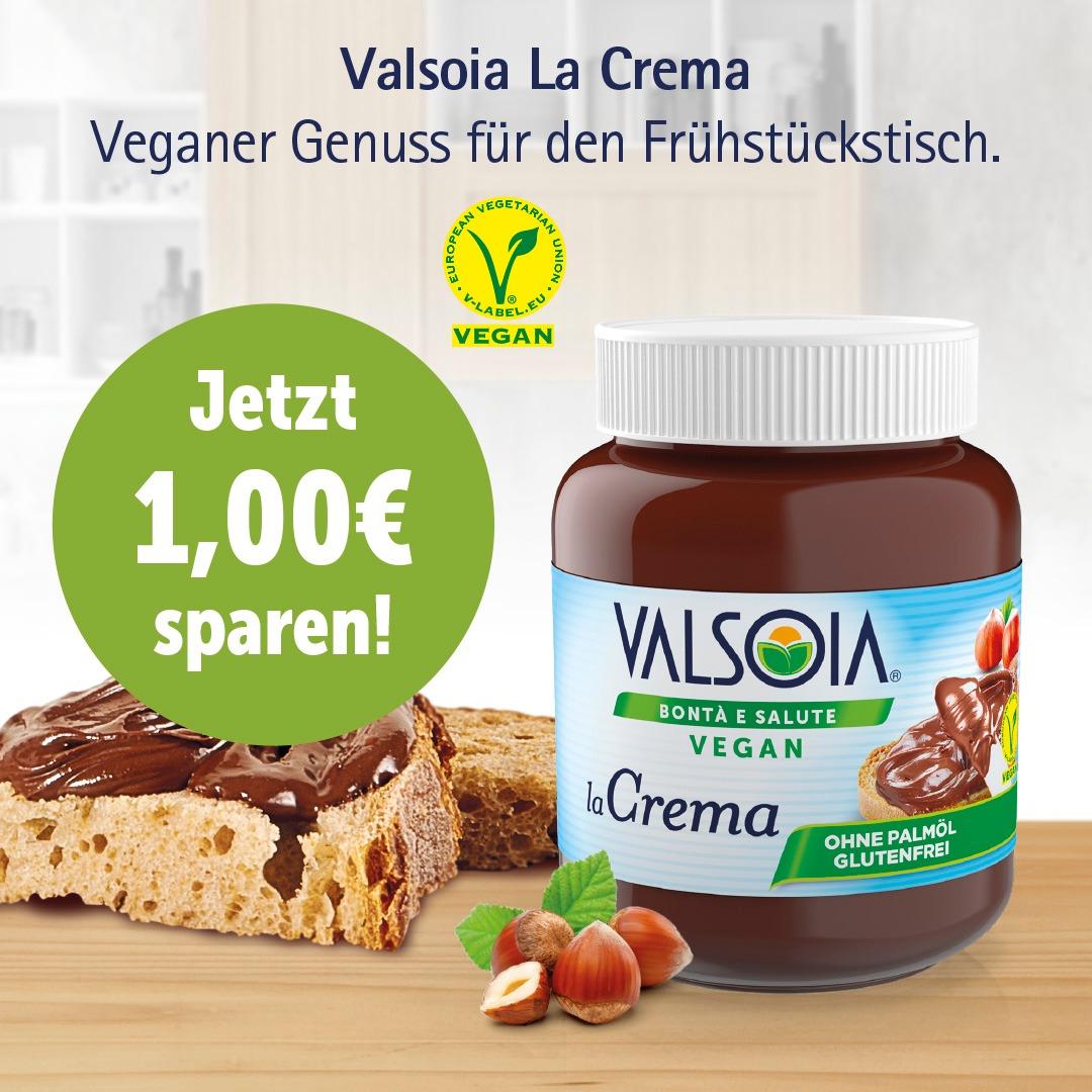 1€ Rabatt auf Valsoia La Crema bei Edeka (Vegane Nutellaalternative)