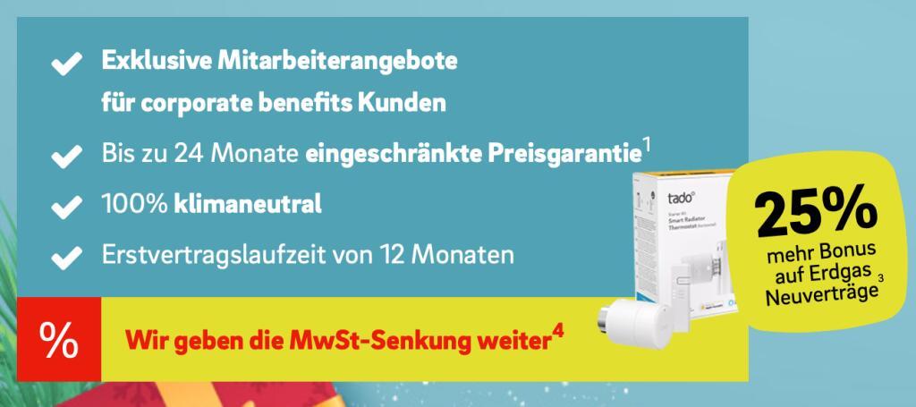 [CB] E.ON Gasvertrag mit 25% Rabatt zusätzlich & gratis tado° Thermostat Starter Kit V3+