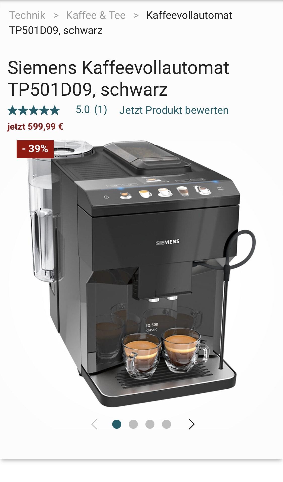 Siemens Kaffeevollautomat EQ.500 Classic TP501D09 abs. Bestpreis mit 5%Shoop sogar 427,49€