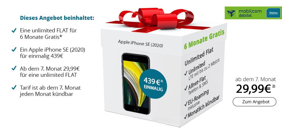 iPhone SE 64GB + 6 Monate mobilcom-debitel Telefonica Unlimited Flat für zusammen 439€ + 4 Monate Deezer