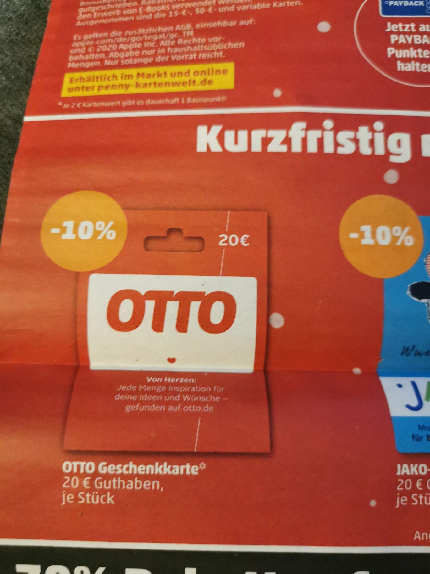 [Penny] 10% Rabatt auf Otto Geschenkkarte // 15% Bonus Guthaben für Apple iTunes // 15% Hunkemöller Geschenkkarte