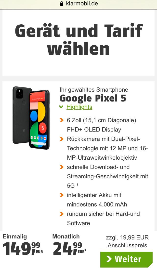 Google Pixel 5, schwarz, 10 GB im D-Netz, effektiv 32 € / Monat