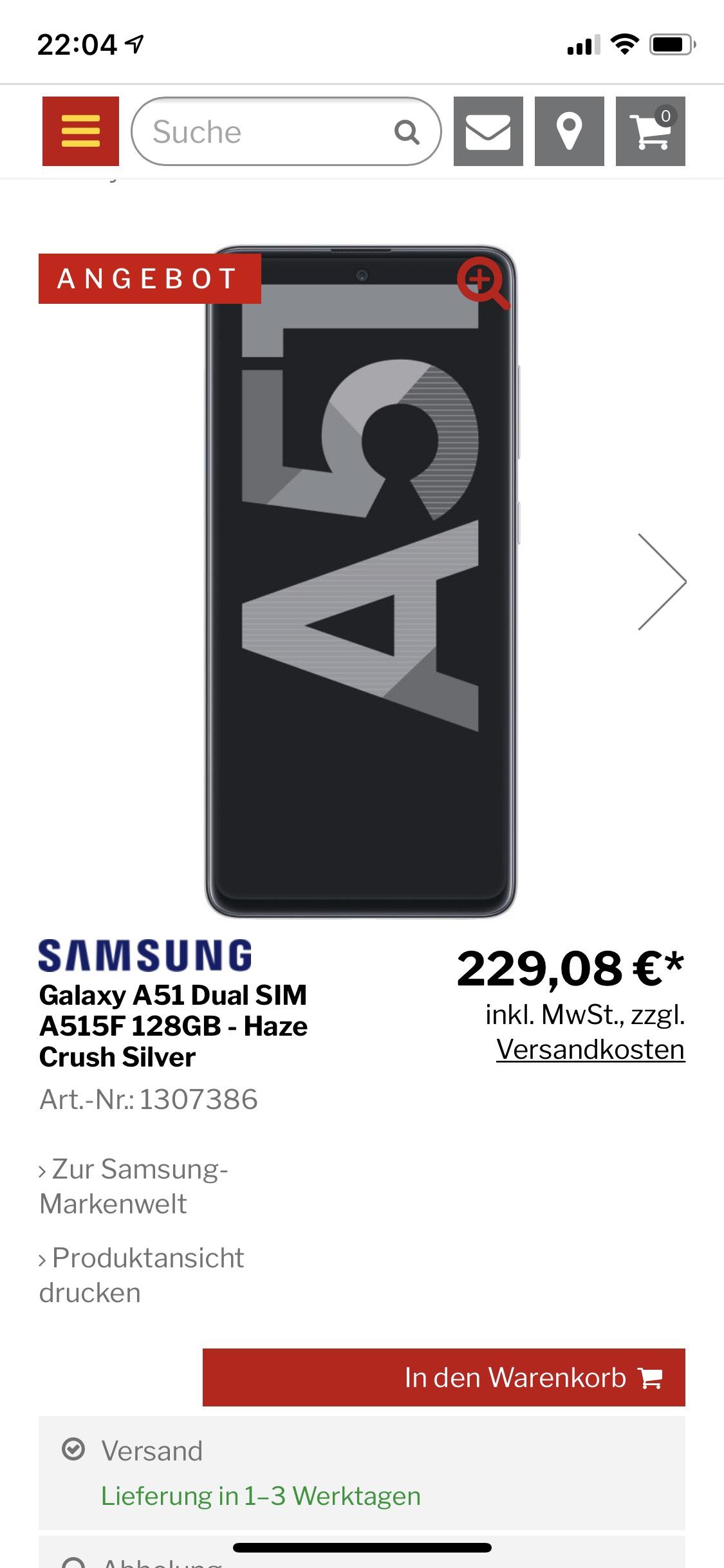 Samsung Galaxy a51 Lokal und online bei MediMax