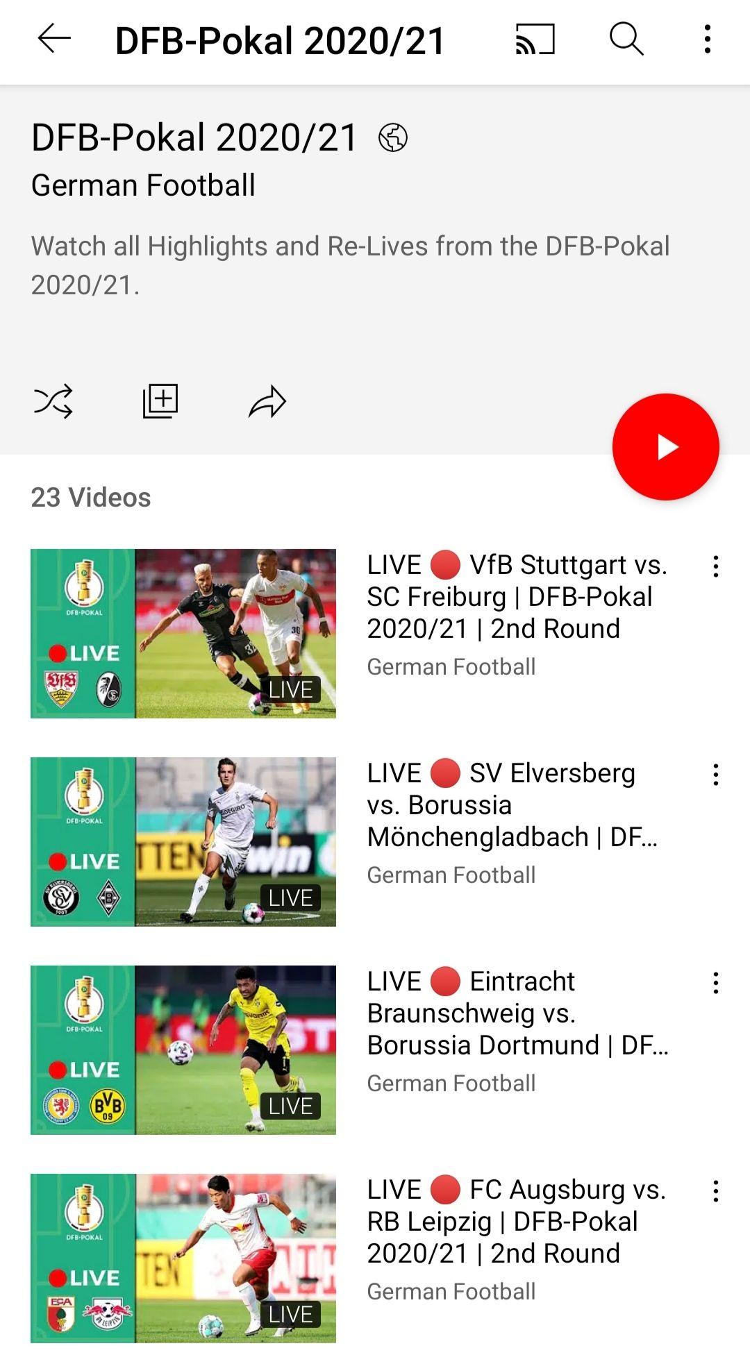 Ausgewählte Spiele der zweiten DFB-Pokalrunde kostenlos auf Youtube - VPN nötig