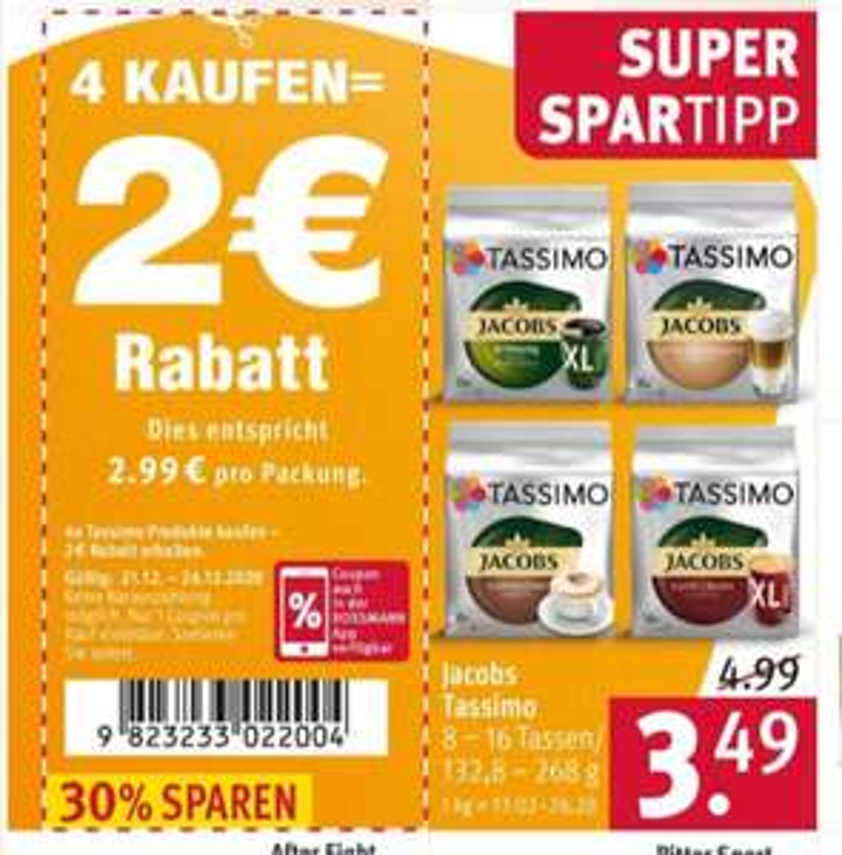[Rossmann Angebot + 2 Coupons] Jacobs Tassimo Kapseln für 2,72€ / Packung beim Kauf von 4 Packungen