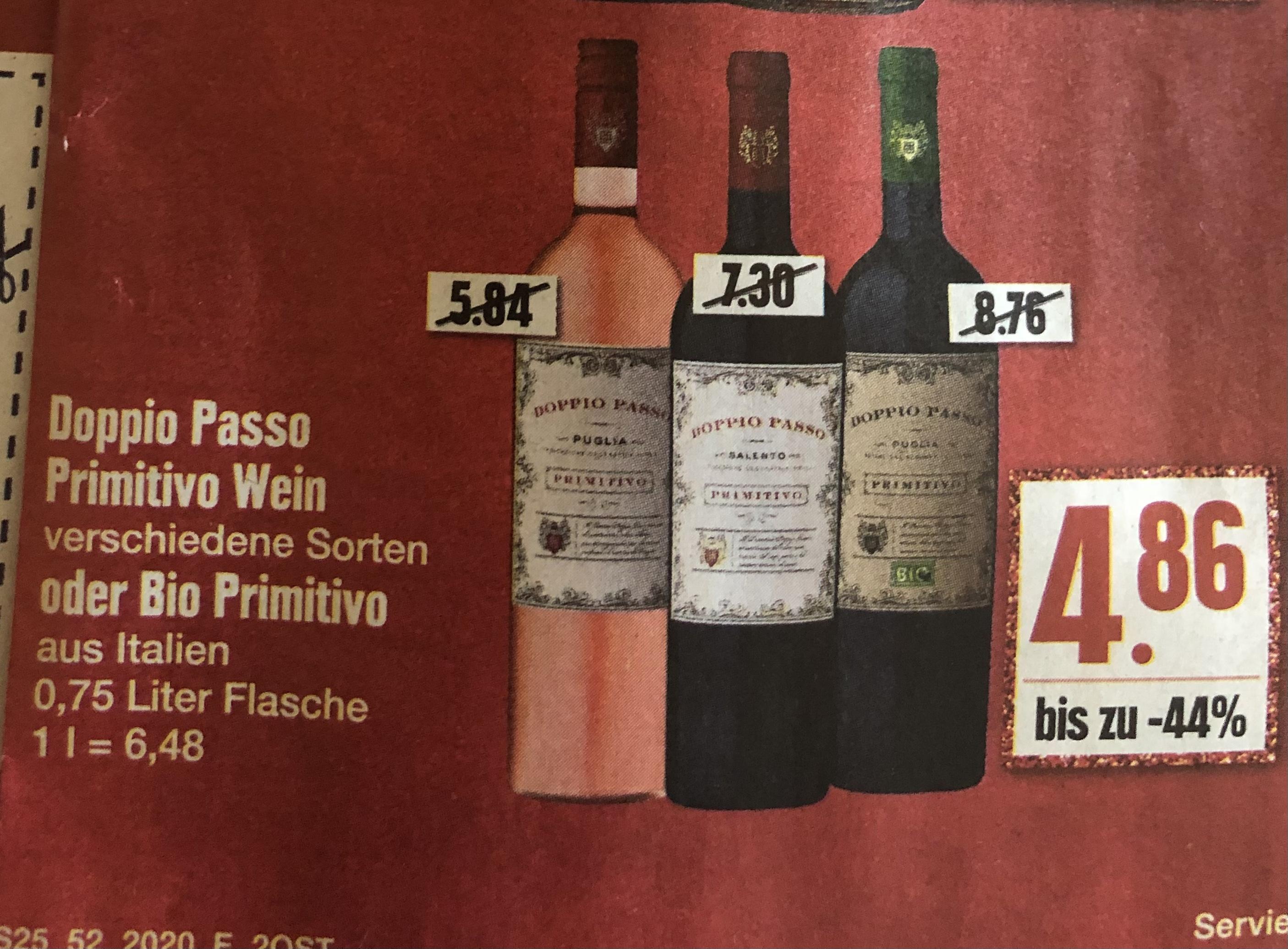 (offline @edeka & @marktkauf) Doppio Passo Primitivo Rotwein / Roso / Bio Primitivo 21.-24.12.