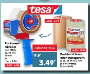 [Kaufland ab 04.01.] Tesa Abroller + 1 Rolle oder 3er Pack Packband für 3,49€