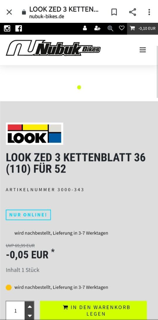 PREISFEHLER Verschiedene Look Kettenblätter für -0.05€ exkl. Versand