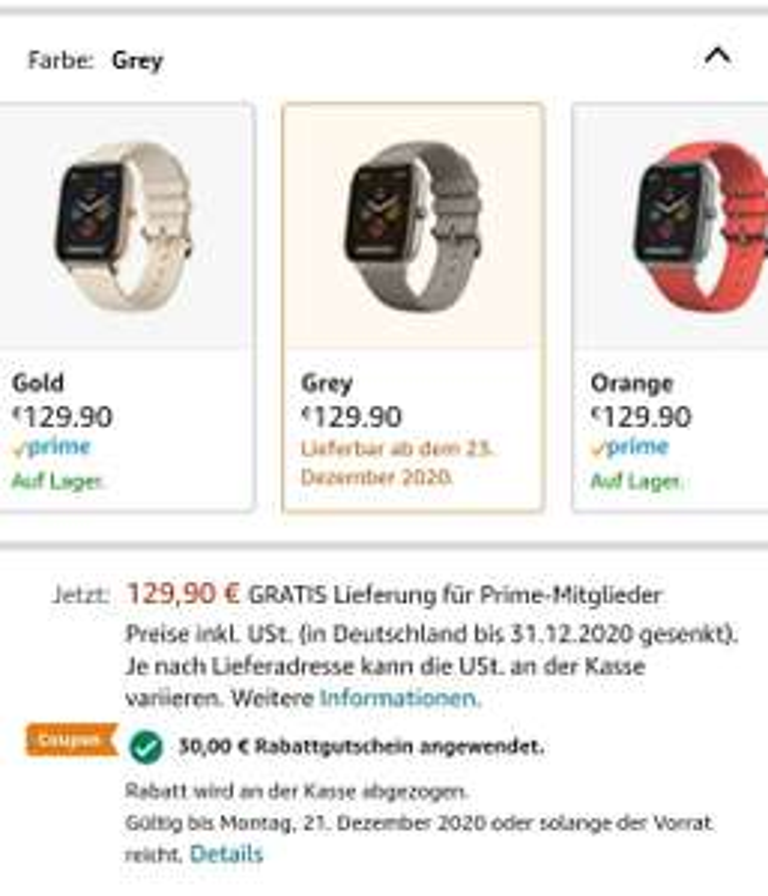 Amazfit GTS -30€ Rabatt bei Amazon bis 21.12.20