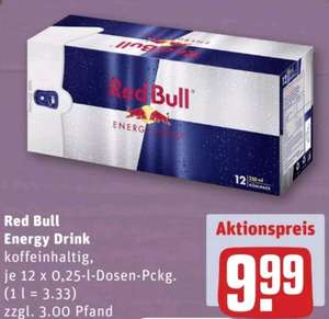[Rewe] Red Bull Energy Drink 12 er Pack für 9,99€ (ca. 83 Cent pro Dose)