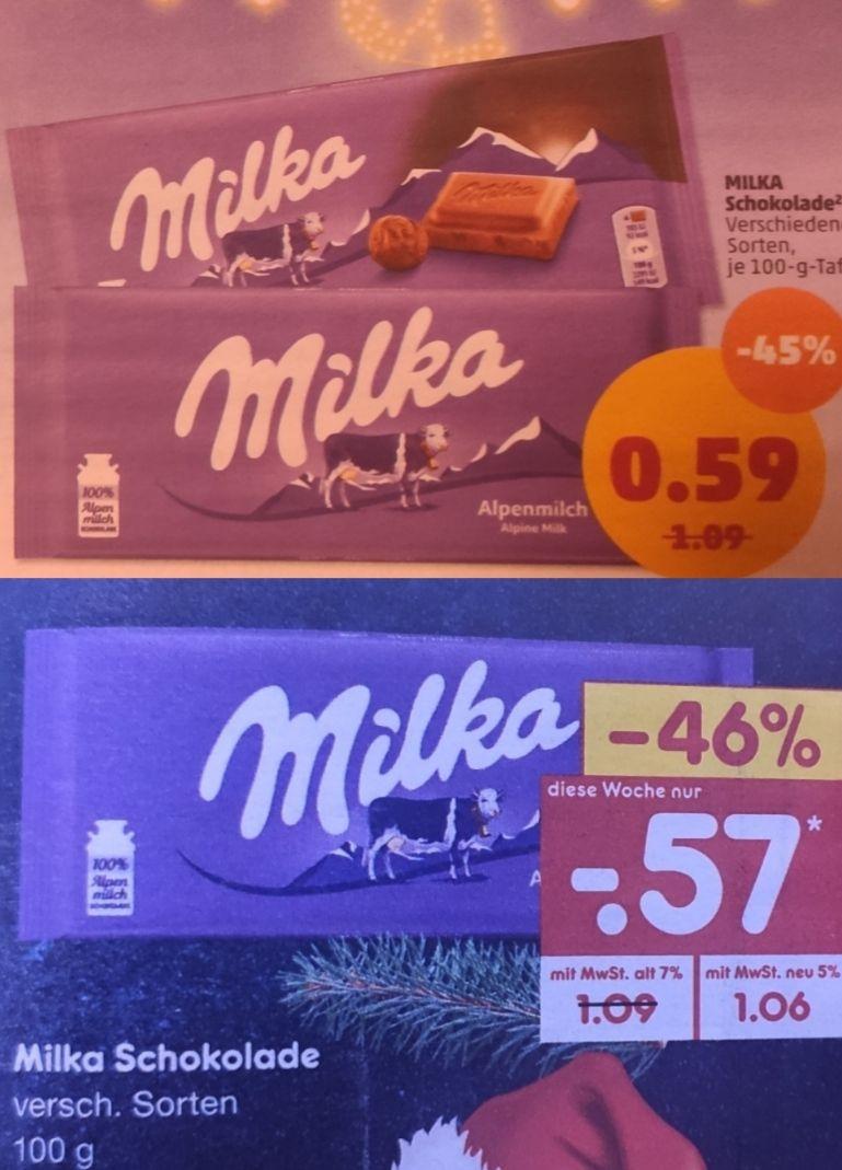 [Netto MD +Penny und weitere] 9x Milka Schokolade mit Coupon für 3,13€