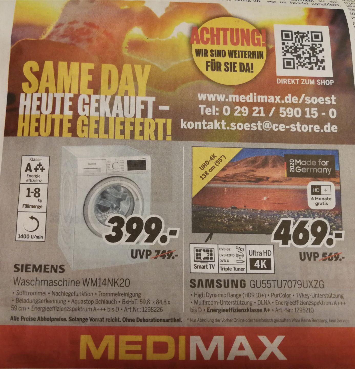 [lokal Soest] Siemens Waschmaschine WM14NK20 // Samsung TV GU55TU7079