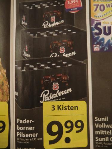 3 Kisten Paderborner Pils (je 20x0,33 Liter) = 3,33 Euro / Kiste --> lokal Famila Löhne