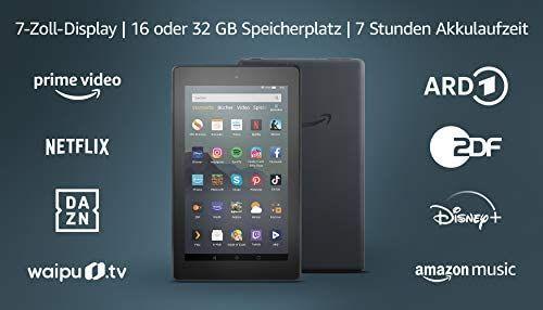 Amazon Fire 7-Tablet (7-Zoll-Display, 16 GB), Schwarz, Mit Werbung