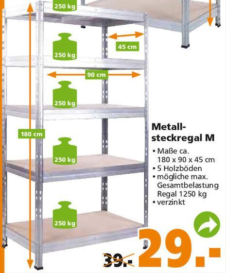 Schwerlastregal mit 5 Böden, 250kg pro Boden, verzinkt, 1800 x 900 x 450 mm für 29,83€ inkl. Versand