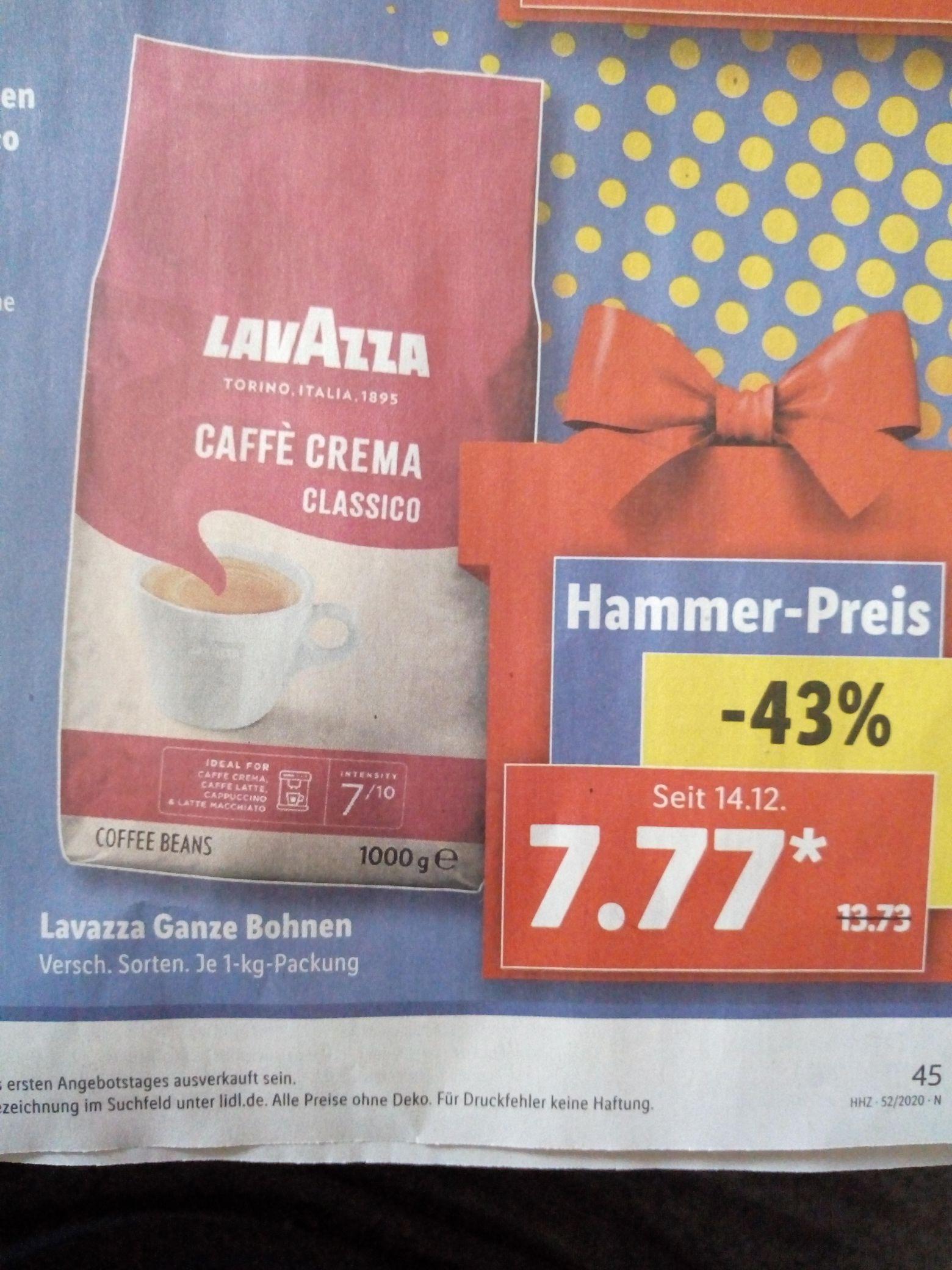 LavAzza Ganze Bohnen bei Lidl und Netto