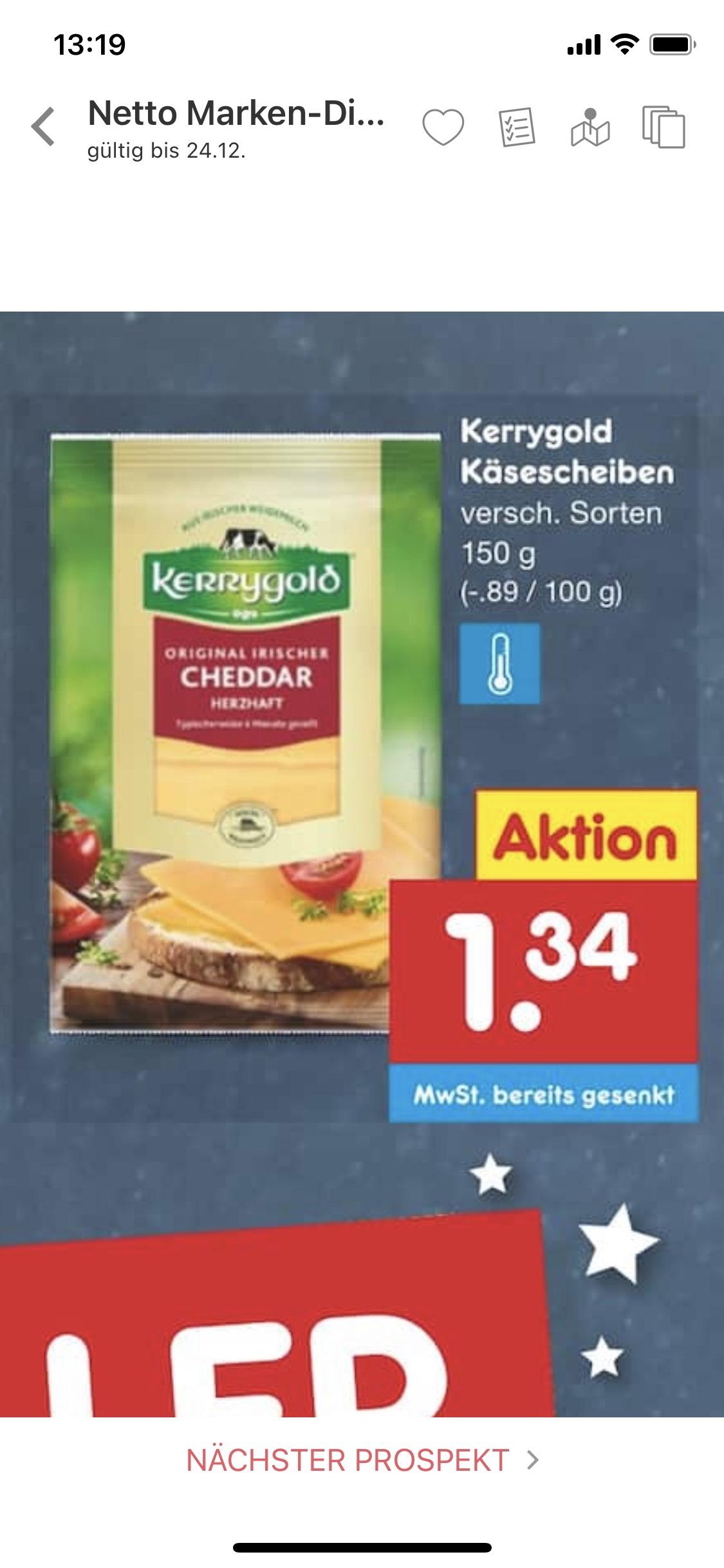 Kerrygold Cheddar und andere Sorten mit 150g für 1,34€ bei Netto