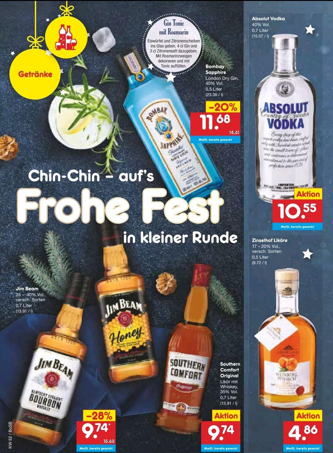 [Netto MD] Jim Beam Southern Comfort Absolut Vodka und Bombay Sapphire zum Bestpreis dank Coupons