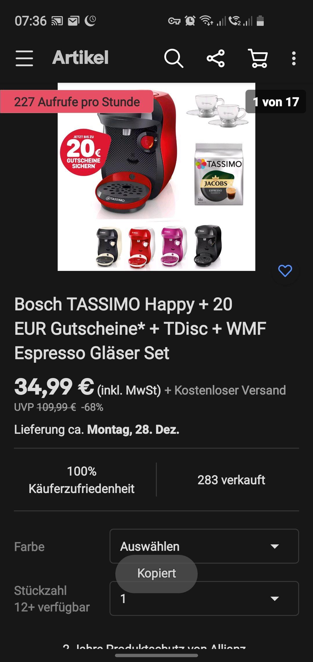 Tassimo Happy + 20€ Gutschein und 2 Gläser