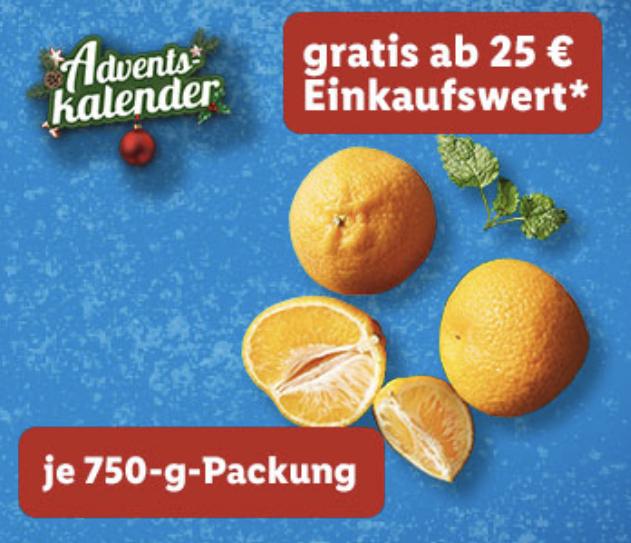 Lidl Plus Adventskalender: Mandarinen 750g Packung Gratis ab 25€ Einkauf