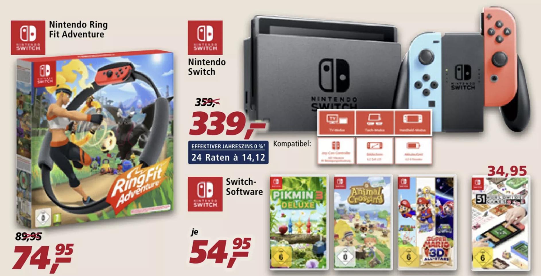 real F&F Aktion nur am 02.01.: Nintendo Switch Konsole für 271,20€ / Ring Fit Adventure für 62,97€ (bei 9,75% 67,95)