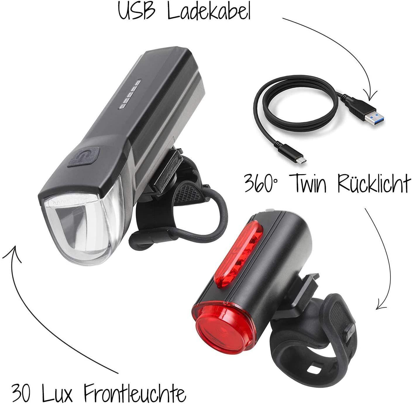 FISCHER LED Beleuchtungsset, mit 360° Bodenleuchte für mehr Sichtbarkeit und Schutz, aufladbare Akkus mit USB | Frontlicht 30 Lux
