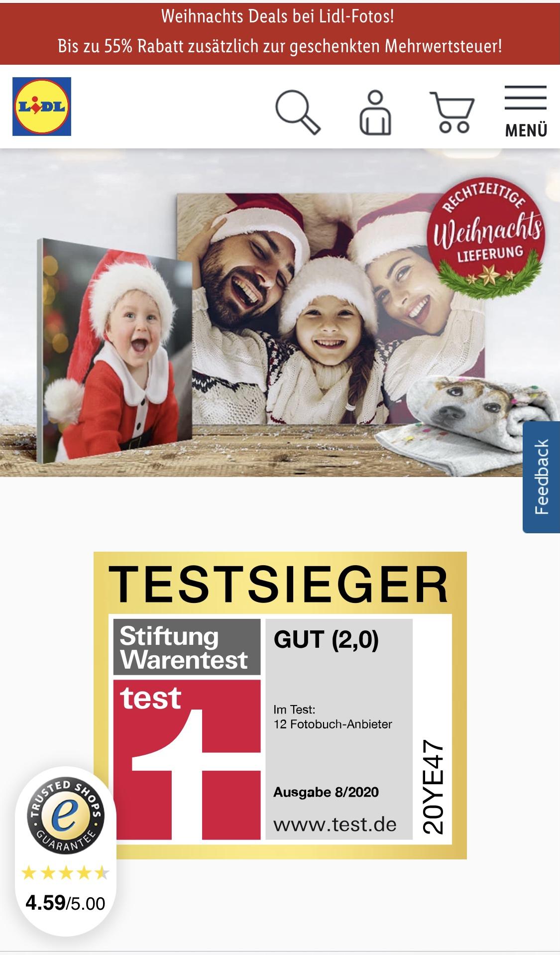 Lidl Fotos, zb Acrylbild 60x40 für 19,98€ inkl Expressversand mit Lieferung vor Weihnachten, auch Leinwand oder Decke