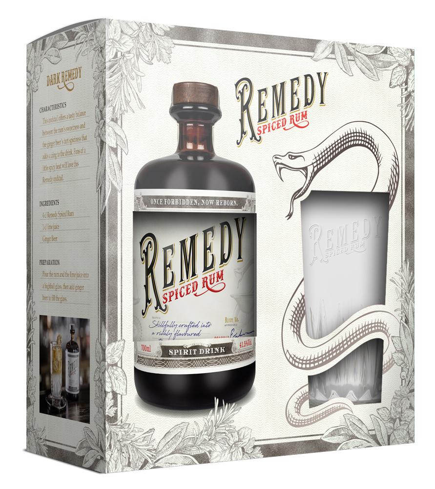 2x Remedy Spiced Rum mit Highball Glas [BEVBOX]