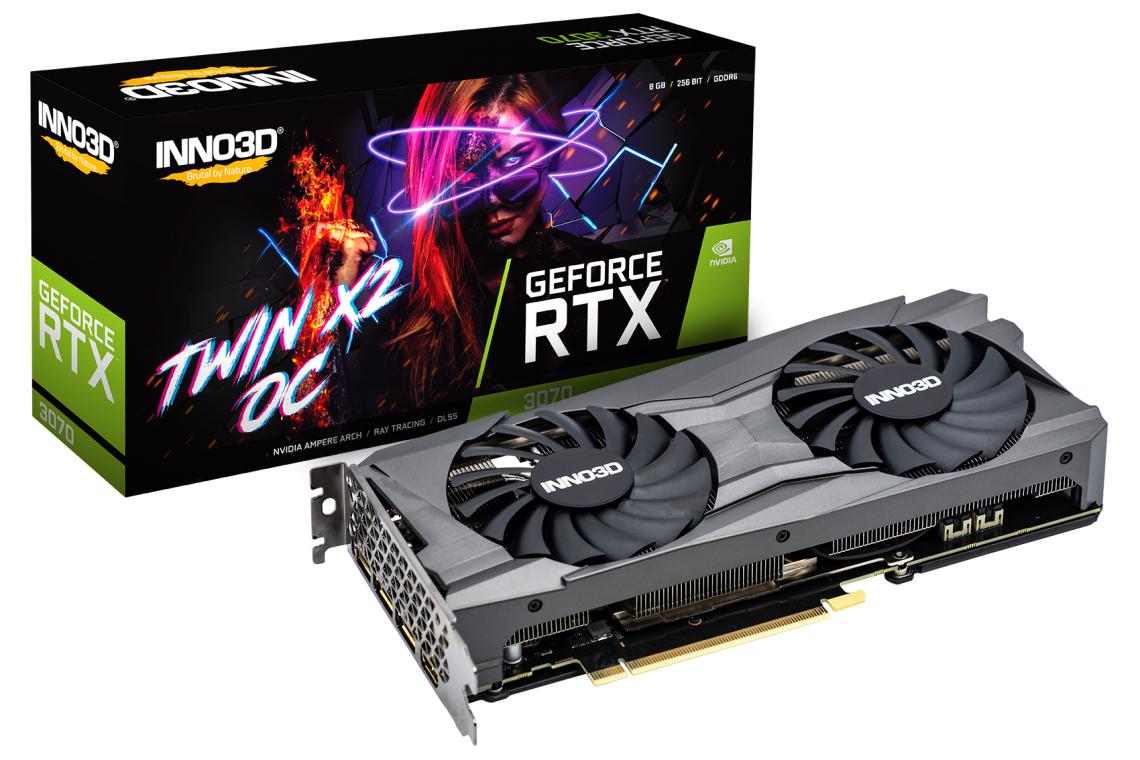 INNO3D GeForce RTX 3070 Twin X2 OC, 8GB GDDR6, HDMI, 3x DP (N30702-08D6X-1710VA32L) für 649 €