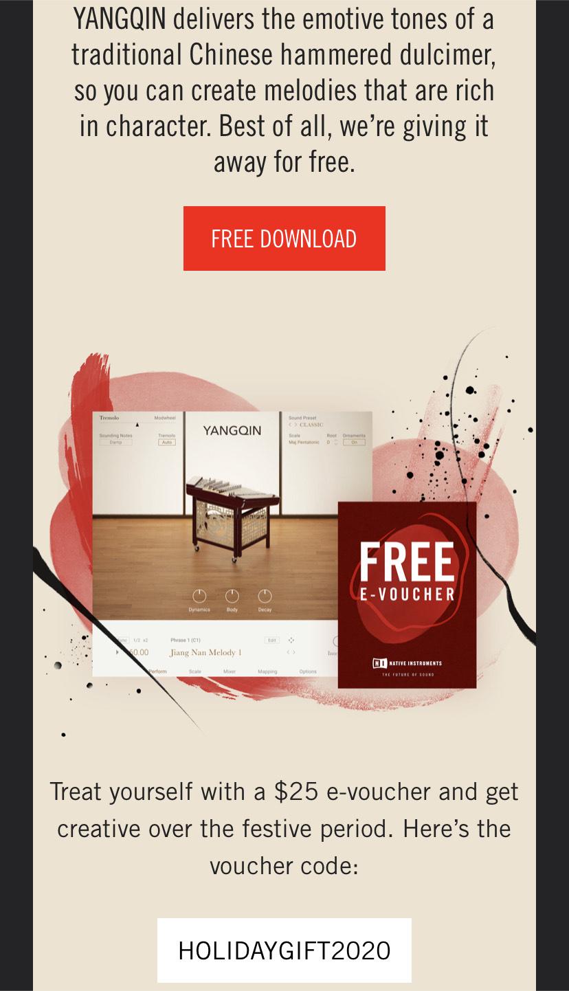 Native Instruments YANGQIN PlugIn kostenlos + $25 e-voucher