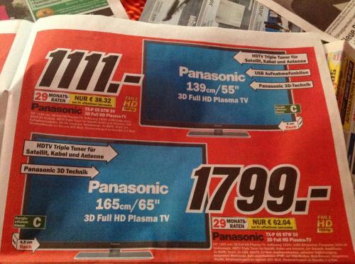 (Lokal) Wieder verfügbar Panasonic TX 55  oder 65 STW50 @ MM Erfurt