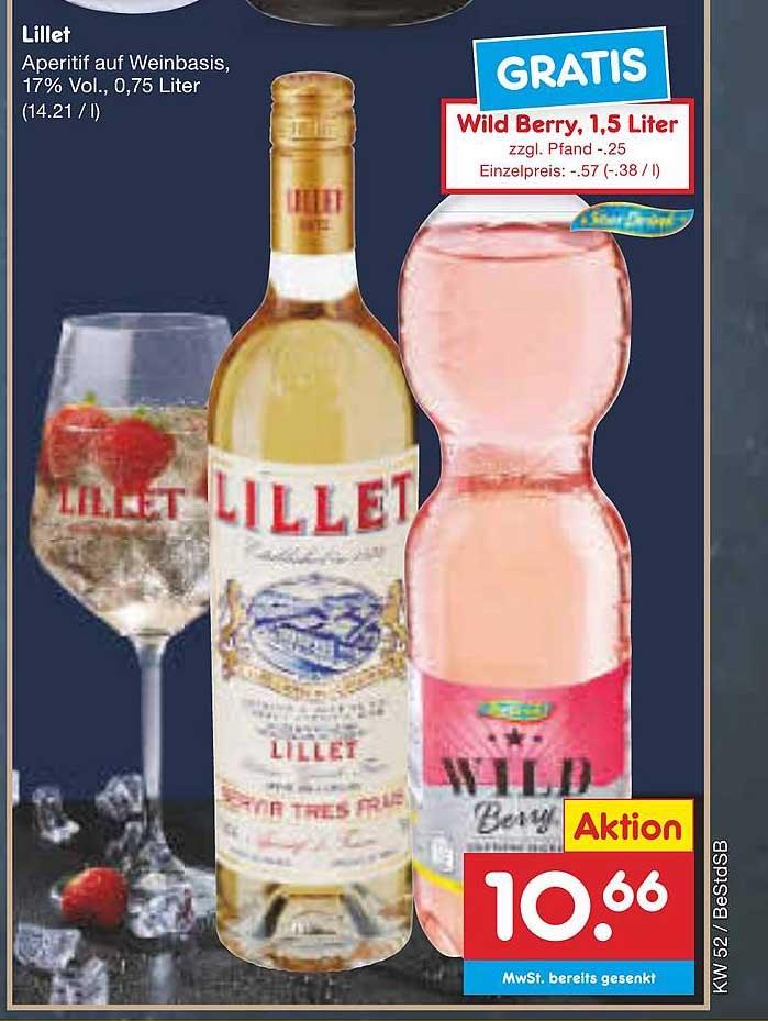 Lillet Aperitif auf Weinbasis, 17% Vol., 0,75 Liter (14.21 / l) + Wild Berry, 1,5 Liter