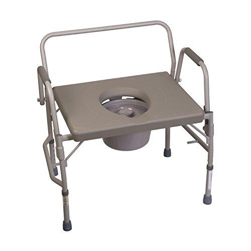 Schwerlast - Toilettenstuhl, extra breit, Stahl, hochklappbare Armlehnen